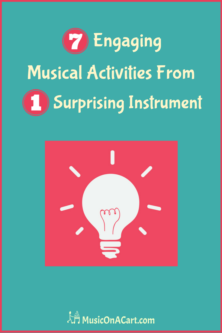 Check out these seven creative music lesson ideas that use only one, small instrument! | www.MusicOnACart.com