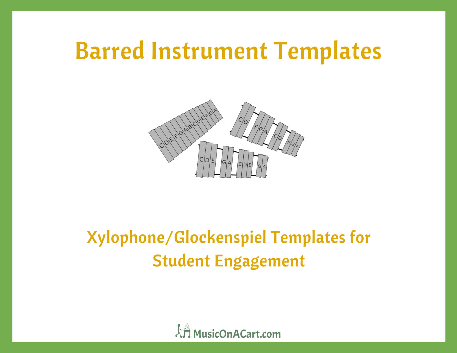 These barred instrument templates are great manipulatives for your music students to use, especially if you are teaching music from a cart. Download them for free at www.MusicOnACart.com