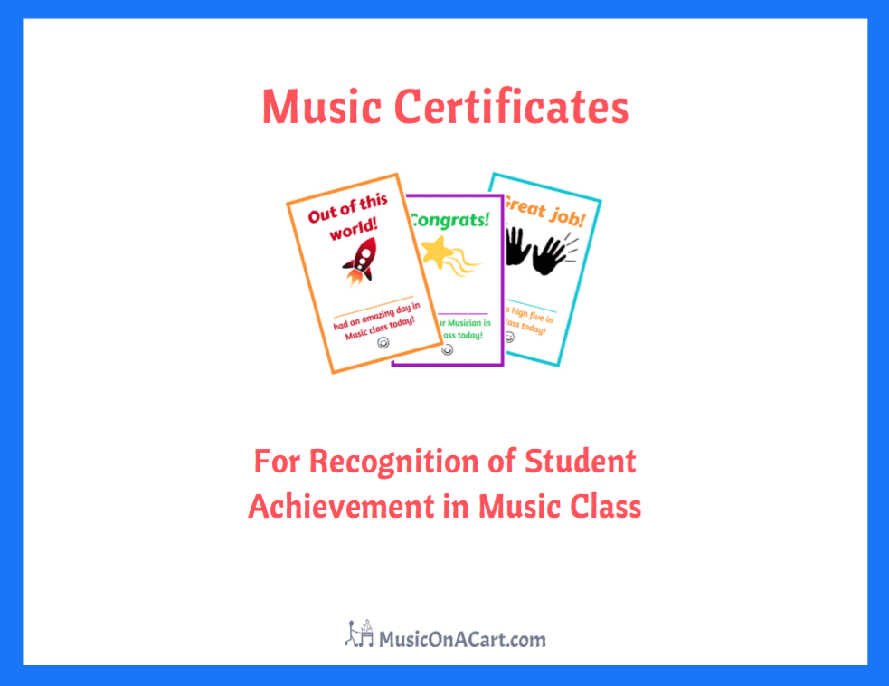Acknowledge your students with these fun music certificates! | www.MusicOnACart.com