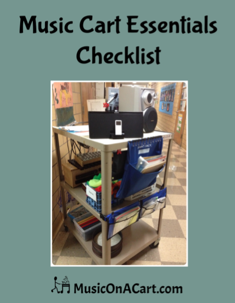 Essential checklist of teaching tools and items when teaching music from a cart. | www.MusicOnACart.com