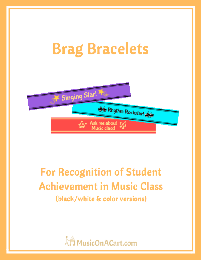 Acknowledge your music students' efforts with these fun, reproducible brag bracelets! | www.MusicOnACart.com